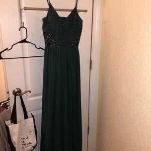 Skinny strap Dark Green Prom Dress